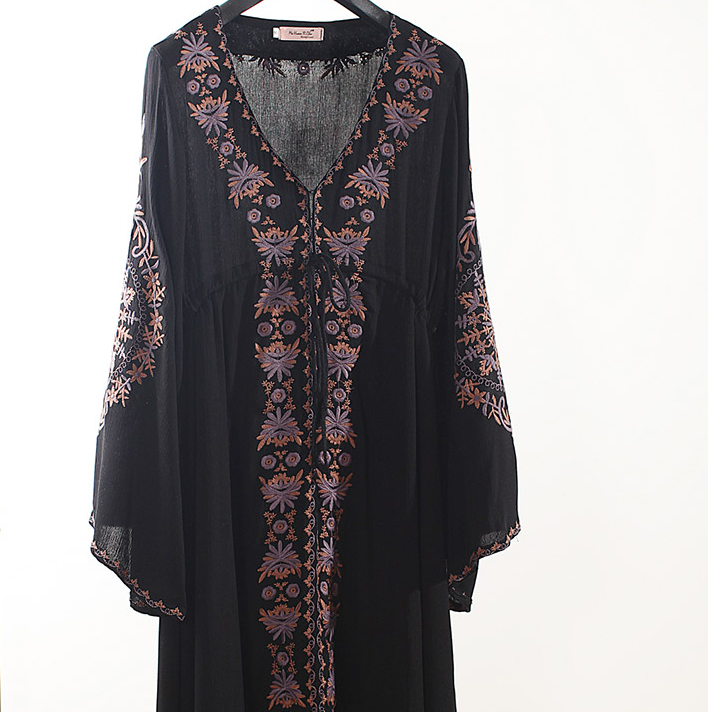 Long sleeve V-neck embroidered dress