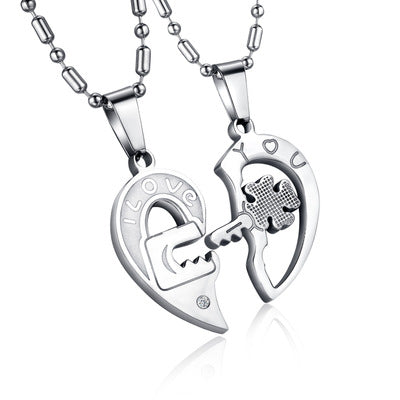 Titanium Steel Rhinestone Key Puzzles Couple Necklace Pendant