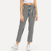 Self Tie Waist Striped Pants Black and White Mid Waist Crop Straight Leg Trousers Women Spring Casual Pants