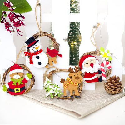 Christmas Home Decoration Wicker Ornament Cartoon Felt Ring Rattan Decorative Pendant Santa Claus Pendant Christmas Ornaments