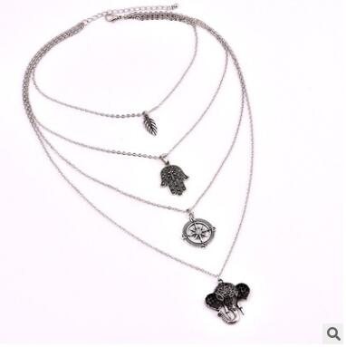 Leaf palm compass elephant multi-layer necklace