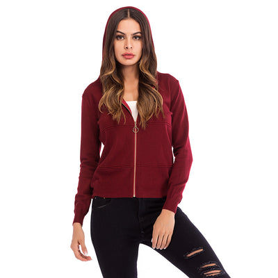 Solid color hooded zip knit cardigan