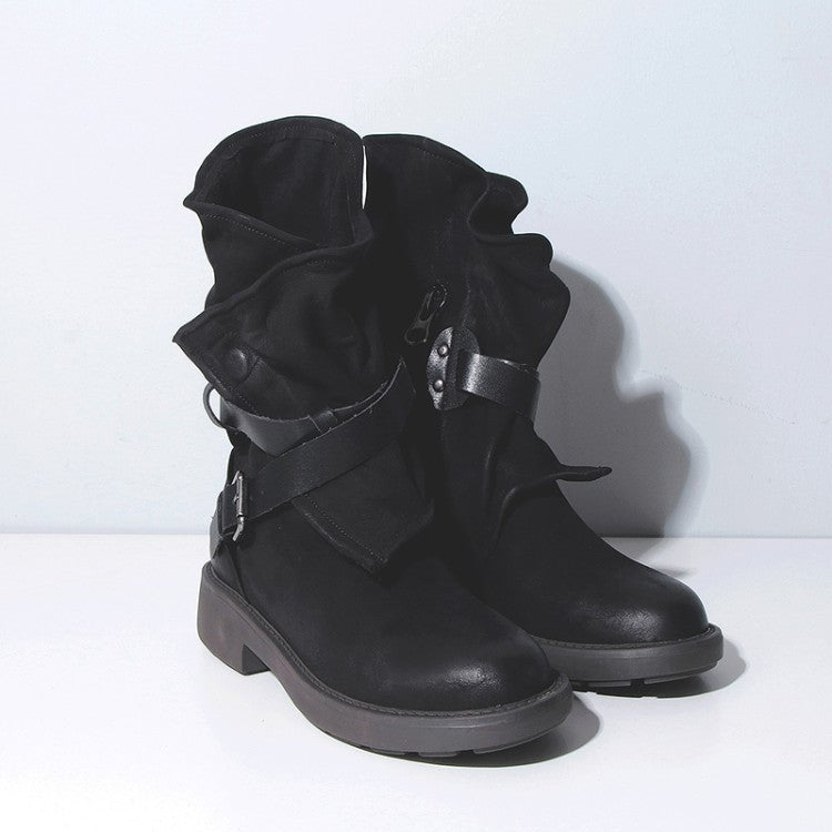 Round toe buckle with square heel