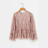 Autumn new crochet lace long sleeve solid color shirt