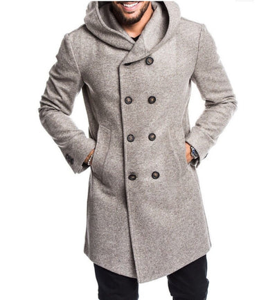 Hooded woolen coat