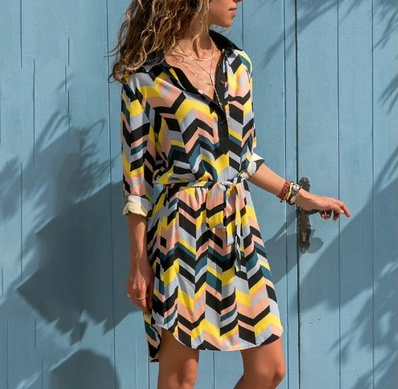 Colorful striped waistband long sleeve shirt dress