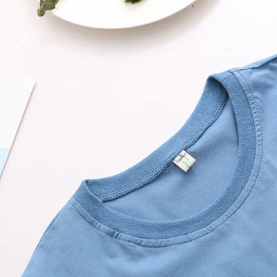 Korean version of the new flower villain series smog blue illustration letter printing round neck short-sleeved wild T-shirt 49898