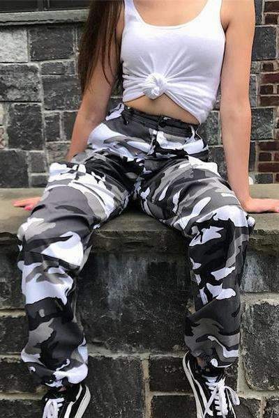 6 Colors Contrast Camouflage Loose Cool Pants
