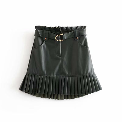 Pleated bottoming fan PU skirt