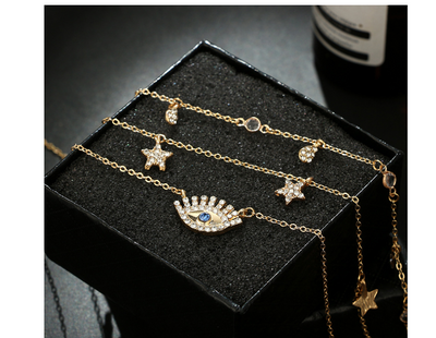 Fashion water drop five-pointed star diamond personality eyelash blue diamond multi-layer necklace necklace