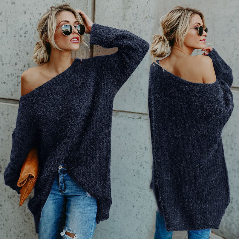 Sexy off-the-shoulder plush solid sweater