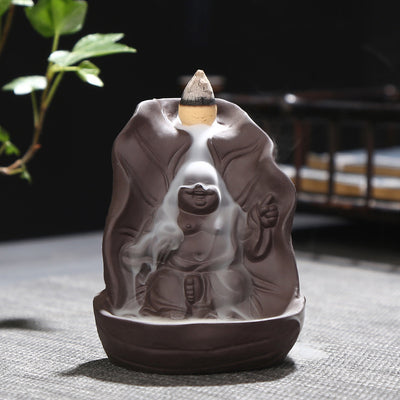 Buddha ceramic back incense burner