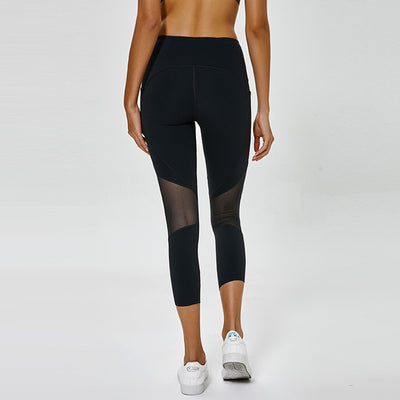 Yoga pants pocket running sports cropped trousers