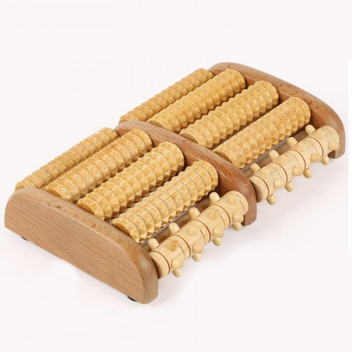 Newly Dual Wooden Foot Massager Roller Relieves Plantar Fasciitis Heel Arch Pain Stress Relief
