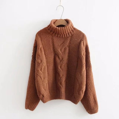 High-necked pullover with cable top