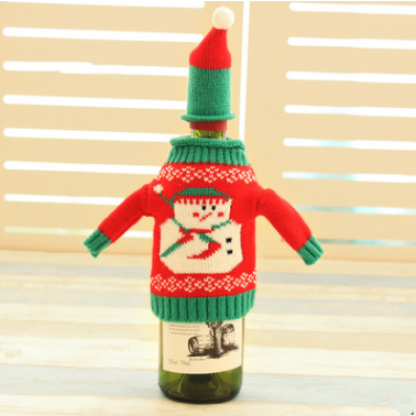 Festive Plush Snowmen Wine Bottle Cover Bag