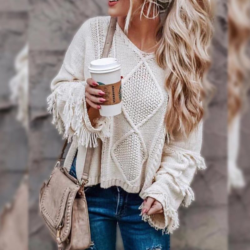 Europe and the United States new sweater round neck long-sleeved tassel solid color sweater shirt women