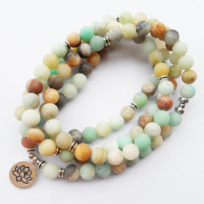 108 pcs Matte Amazonite tasbih prayer beads Mala Bracelet ancient silver Lotus pendant Buddha beads religion Yoga Bracelet
