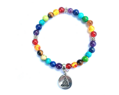 Life Tree Buddha Lotus Pendant Small Snowflake Seven Chakra Yoga 6mm Natural Stone Friendship Bead Bracelet