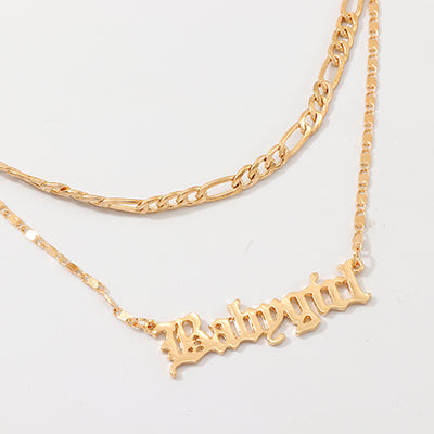 Babygirl letter double necklace