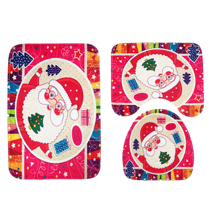 FENGRISE 3pcs Fancy Santa Claus Rug Seat Bathroom Set Contour Rug Christmas Decoration Navidad Xmas Party Supplies New Year 2020
