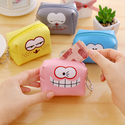 The new small wallet Korean funny expression coin bag bag leather box change children's cartoon Keychain