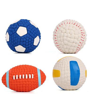 Dog toy bite-proof teeth molar latex toy ball pet interactive sound training ball pet supplies