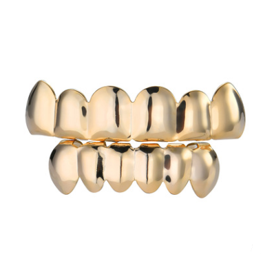 Gold-plated teeth hip-hop braces Glossy gold braces singer hipsters braces Halloween