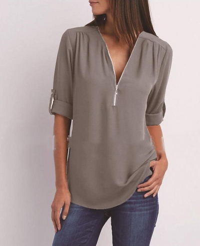 Large Size  Long Sleeve Loose V-Neck Shirt