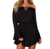 Ruffled collar trumpet long sleeve solid color dress