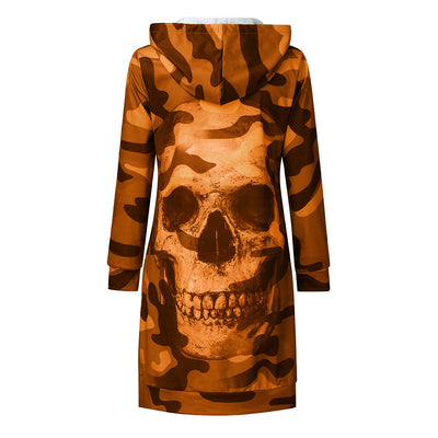Camouflage skull long sleeve sweater