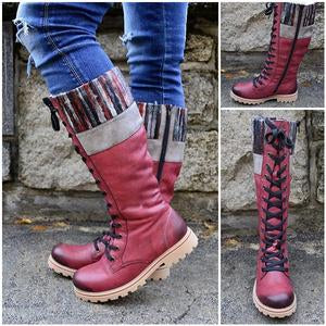 Chunky heel stitched leather boots