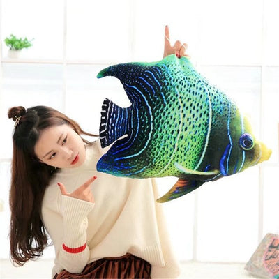 New Big turtle/Tropical Fish 3D Printing Soft Plush Chair Seat Cushion Pillow Home Car Decor Stump Shaped Decorative Pillows LST