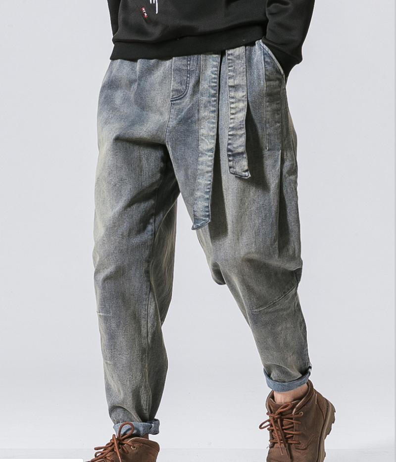 2020 autumn and winter new national tide old men's loose denim trousers retro fashion large size men's jeans