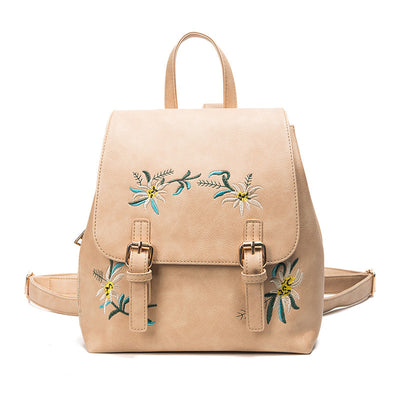 2020 New Girls Embroidered folk style fashion leather backpack backpack wholesale flower color embroidery