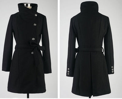 Belted woolen coat with slim collar