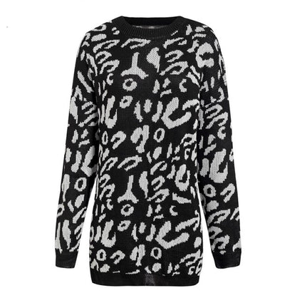 Loose leopard print sweaters with long sleeves
