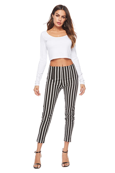 Black and white plaid zipper slim slimming white pants