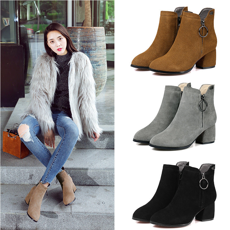 2020 autumn and winter new lady's boots, soft inside and soft inside and two kinds of rough heeled leather boots
