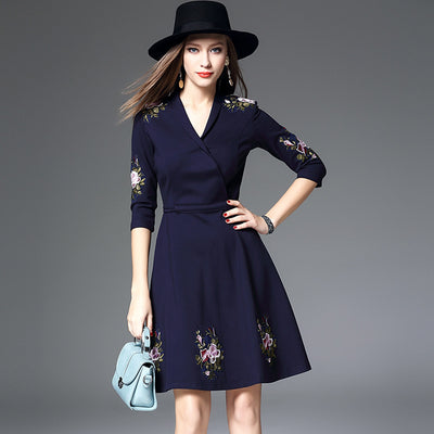 V-collar Embroidery Flower,3 Quarter Sleeve One Piece Dress A-line Skirt