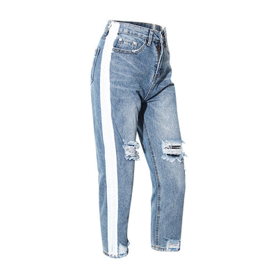 Spring and Summer 2020 New Trendy Sports Wind Printing Hole Washing Water Jeans New Women''s Seven-cent Trousers Straight Trousers