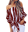 Summer new word collar trumpet sleeve striped lace bow chiffon shirt