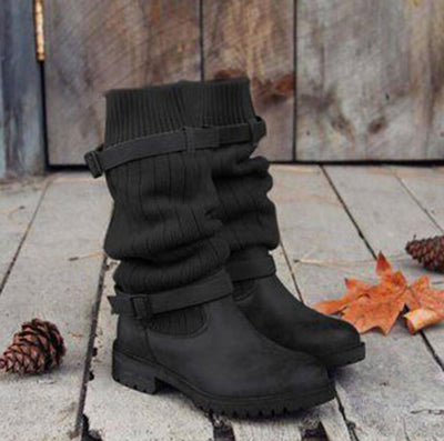 Vintage Style Winter Women Lady Warm Plush Fur Knitted Woolen Yarn Buckle Strapped Bottine Cotton Booties Martin Boot Shoes