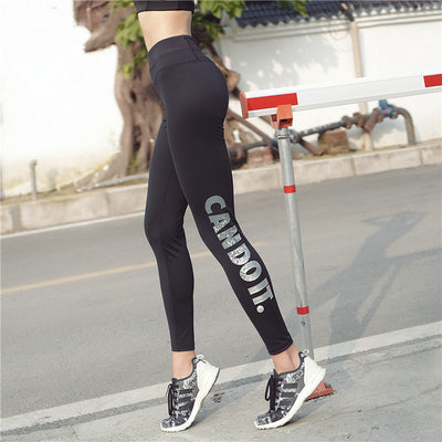 Cross boundary movement bronzing alphabet high elastic training Yoga running fitness show thin ladies pants
