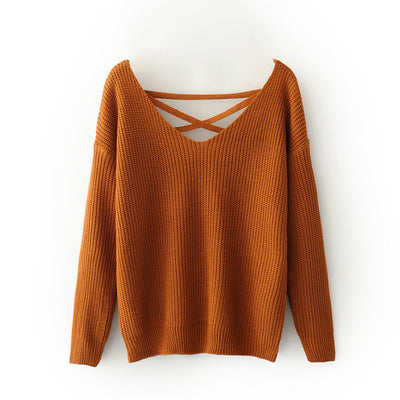 Winter Autumn Women Sexy Backless Cross Straps Sweater Women Loose Knitted V-neck Pullovers Sweater