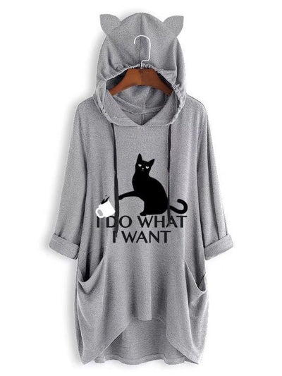 Women's casual hooded printed cat