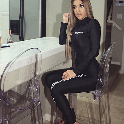 Zip long sleeve sports print jumpsuit
