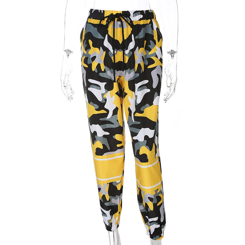 New camouflage hit color high waist casual pants
