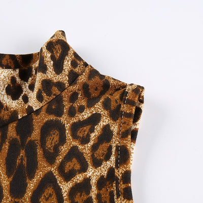 Sexy Leopard small stand collar blouse Slim vest