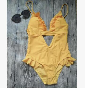 Yellow Hollow-out One-Piece Swimsuits
